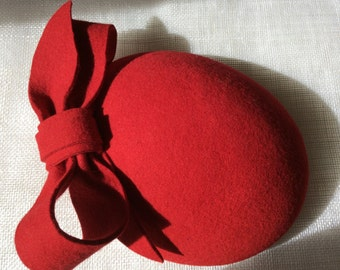 Red Felt Fascinator Pillbox with Bow