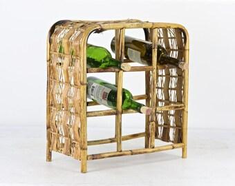Bamboo Wine Rack, Boho Wine Rack, Rattan Wine Rack, Vintage Wine Rack, Vintage Bamboo Wine Rack, Vintage Rattan Wine Rack, Bohemian Decor
