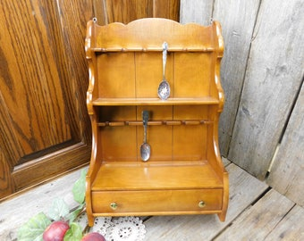 Vintage Mid Century Butler Wood Collector Spoon Rack Display With Drawer