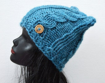 Chunky Cable Cat Hat  - Blue - Winter Fashion Accessory