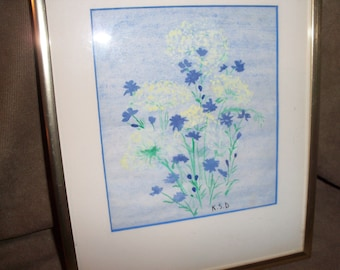 Spring Flowers Watercolor Framed Matted Original Artwork Blue Yellow