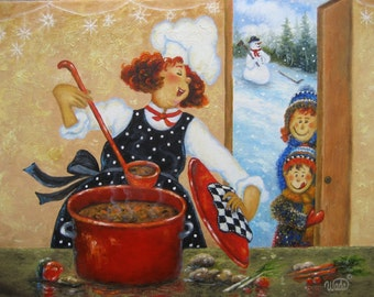 Redhead Mom Chef Art Print, fat chefs, chef paintings, chef prints, chef art, redhead lady, red hair, kitchen art, soup cook Vickie Wade art