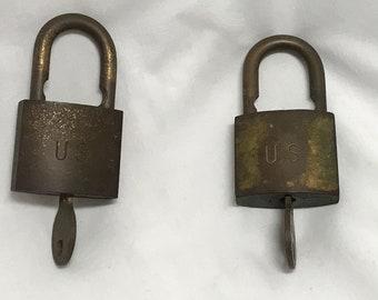 Set of vintage brass American US locks with keys