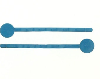 Turquoise Blue Bobby Pins with 8 mm glue pads