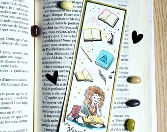 Illustrated bookmark - Quality Print - Hermione reading