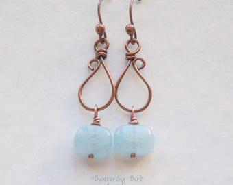Unique Aquamarine Drop Earrings, Unusual Copper Dangle with Light Blue Gemstone Square , Artisan Copper Jewelry