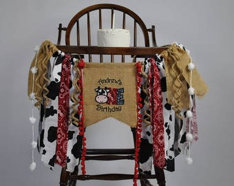 COW ONE/Rodeo 1st Birthday NAME Banner-High Chair Banner-Banners-Birthday Banners-Birthday Banner One-Custom Banners-Party Banner-Photo Prop