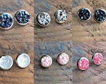 Druzy Round Earrings, Druzy Healing Earrings, Bohemian Earrings, Boho Gypsy, Gemstone earrings, crystal earrings, healing agate earrings