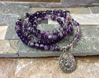 Mala 108 Beaded Necklace Ganesha Lotus Amethyst fluorite mala Necklace