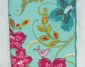 Tablet Sleeve- Quilted with Lovebirds and Lilies Print- Zippered Pouch Pink Teal Turquoise