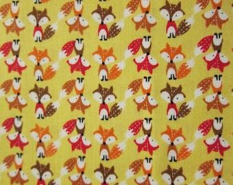 Fox Mini Yellow Foxes Cotton Fabric Fat Quarter or Custon Listing