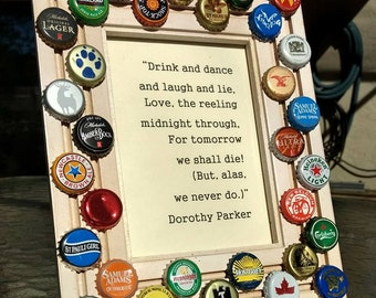 "CHEERS Beer Bottle Cap Picture Frame 5X7"" Photo with Dorothy Parker"