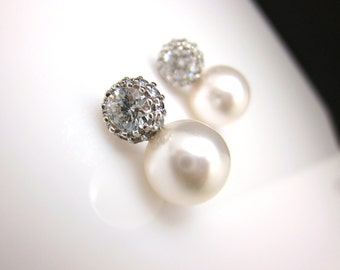 Bridal Jewelry wedding earrings bridesmaid prom party gift christmas swarovski white or cream pearl round cubic zirconia post earrings