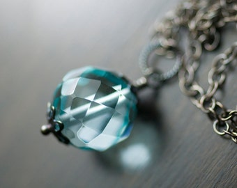"Aqua Blue Quartz Necklace Sterling Silver Gemstone Wrapped Pendant Oxidized Ice Blue Carribean Sea - ""Blue Lagoon"""