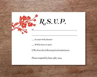 Printable RSVP Card - Response Card Download - Instant Download - RSVP Template - Response Card - Red Asian Florals - Asian rsvp - Red rsvp
