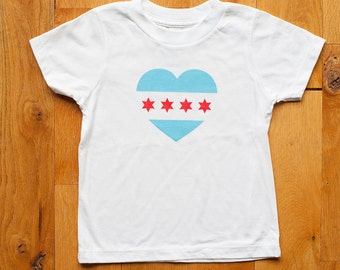 Organic Toddler T-Shirt, Chicago Flag, Midwest Pride, Gender Neutral Toddler T-Shirt, Screen printed, 2T and 4T by Sweetpea and Co.
