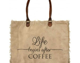Life Begins After Coffee Over sized Recycled Canvas Market Tote Purse Handcrafted Military Tent