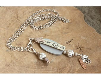 Memorial necklace with text, name, date