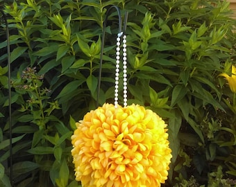 "7.5"" Fall Yellow Mum Flower Pomander Kissing Ball - Pew Bow / Bouquet / Decor"