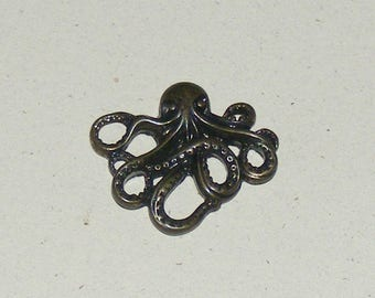 Vintage Brass Octopus Pendant Charm