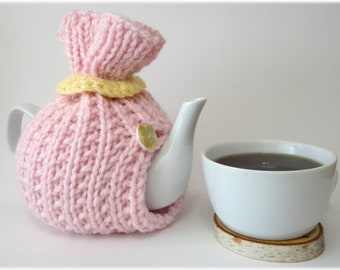 Tea Cosy, Tea Cozy, Pink Tea Cozy, Pink Tea Cosy, Handknit Tea Cozy, 6 cup teapot cozy