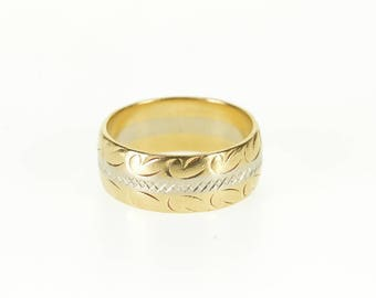 14k Two Tone Scroll Criss Cross Patterned Band Ring Gold