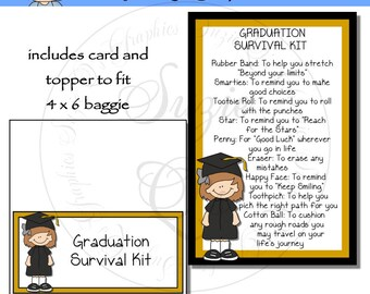 Graduation Survival Kit for a girl  - Digital Printable - Immediate Download