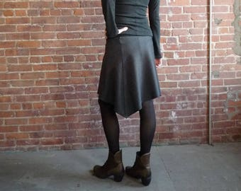 Women's Skirt, Wool Skirt, Charcoal Gray, Organic Bamboo, Asymmetrical, A Line, Winter Style, Office, Gift for Her, Casual, Comfy, Midi