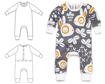 Baby one-piece sewing pattern // pdf download // preemie to 3T // #68