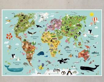 Weltkarte Kinder Poster Plakat Illustration