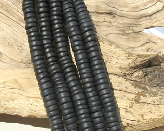 Matte Black Agate LARGE HOLE beads - 3-5mm x 10mm Heishi - 8 inch strand - 2.5mm HoleH