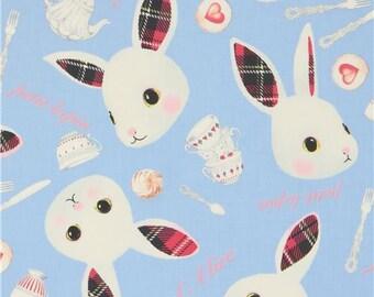 219809 bunny rabbit animal cutlery knife spoon blue fairy tale fabric
