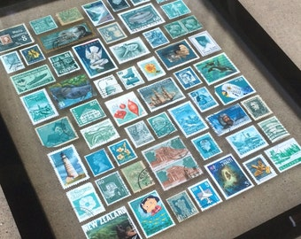 Postage Stamp Wall Art — Turquoise