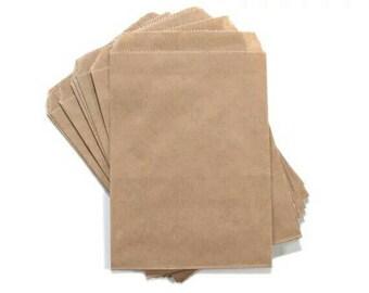 6 1/4 x 9 1/4 Flat Kraft Brown Paper Bags. Gift Bags. Loot Bags. Wedding.Merchandise Bag. Candy bag. Printed back. 25, 50 Bags