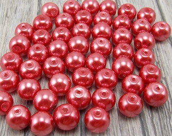 8mm Glass Pearls - Cranberry Pink - 50 pieces - Dark Coral - Watermelon