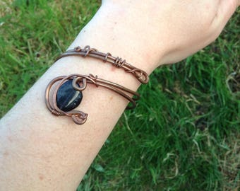 Iolite Adjustable Bracelet, Copper Wire Wrapped Cuff, Healing Crystal Jewellery, Boho Chic, Festival Wear, Unique gift