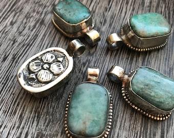 Amazonite Pendants, green amazonite, Amazonite pendant, Pendant, pendants, encased amazonite, Nepal