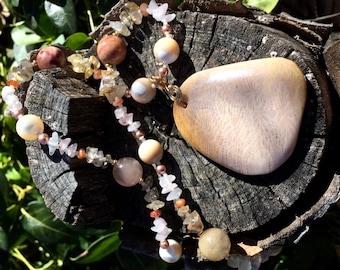 FIRST LIGHT Necklace (Fossil Coral, Mother of Pearl, Inclusion Quartz, Rose Quartz, Sunstone, Golden Rutilated Quartz, Swarovski Pearls)
