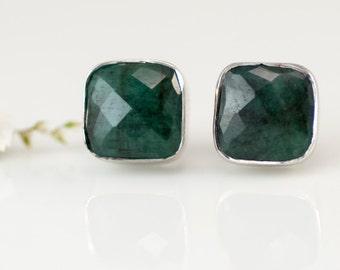 Raw Emerald Stud Earrings - May Birthstone Stud Earrings - Gemstone Studs - Cushion Cut Studs - Silver Stud Earrings - Post Earrings