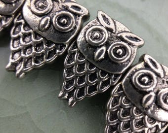 Loose Silver Pewter beads, Pewter Owls, Silver Beads, Wholesale #1598