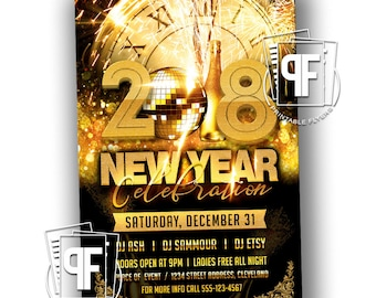 New Years Invitation - New Years Invites - New Year Invitation - New Year Invitation - New Years Party Invitation - 2018 Invitation