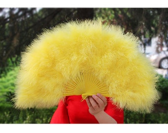 22*12inch Bridesmaid Marabou Feather Fan Pink Yellow Red Marabou Feather Fans Wedding Hand Fans