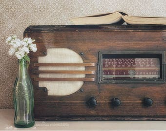 Retro Kitchen Art Print, Still Life Photography, Vintage Farmhouse Decor, Radio Art, Rustic Kitchen Wall Decor | 'Sweet Melody'