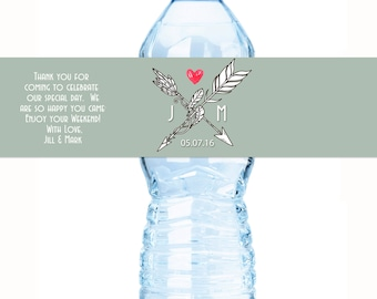 BOHO Wedding Decor -  Wedding Water Bottle Labels - Bohemian Chic Custom Water Bottle Labels - Waterproof Water Bottle Labels
