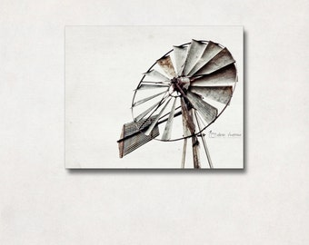 Windmill Wall Decor, Canvas Art Wrap, Rustic Photography, Neutral Farmhouse Decor, Large Wall Art