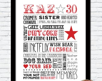 Personalised Special Occasion Word Art Print 18th, 21st, 30th, 40th, 50th, 60th, 70th, 80th BIRTHDAY GIFT
