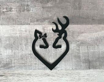 Doe & Buck Heart Vinyl Decal