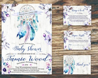 Boho Dreamcatcher Baby Shower Invitation |thank you card,diaper raffle card,bring a book card-printable-purple flowers-Baby shower suite/kit