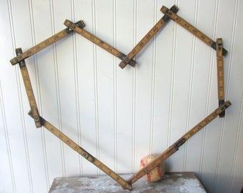 Vintage wooden folding ruler Steel Craft extension rule 72 inch vintage tool Decor supply N3