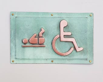"""Baby changing and Wheelchair user disabled toilet lavatory sign 4.5""""""""/115mm high in polished and patinated copper sheet with fixings g"""